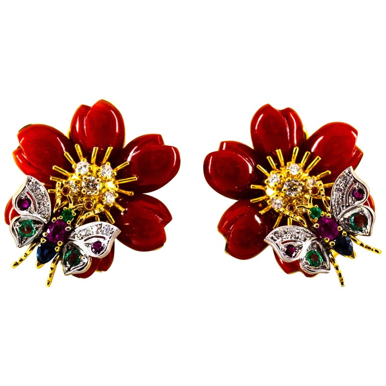 White Diamond Emerald Ruby Blue Sapphire Red Coral Yellow Gold Flowers Earrings For Sale