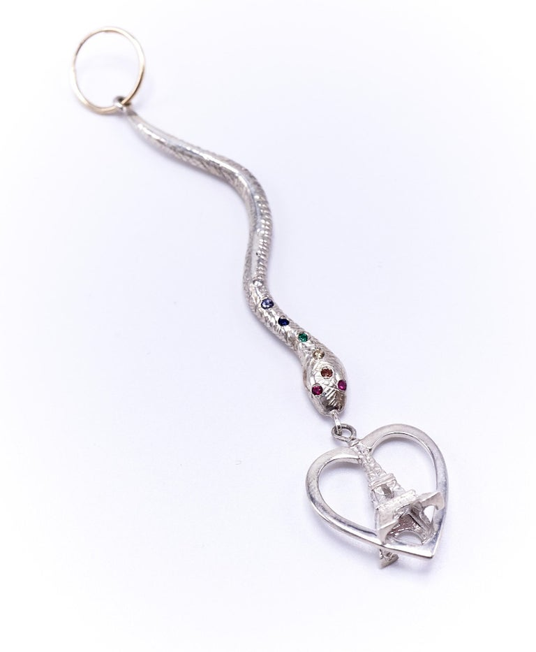 Contemporary White Diamond Emerald Ruby Earring Gold Silver Chakra Heart Snake Eiffel Tower  For Sale