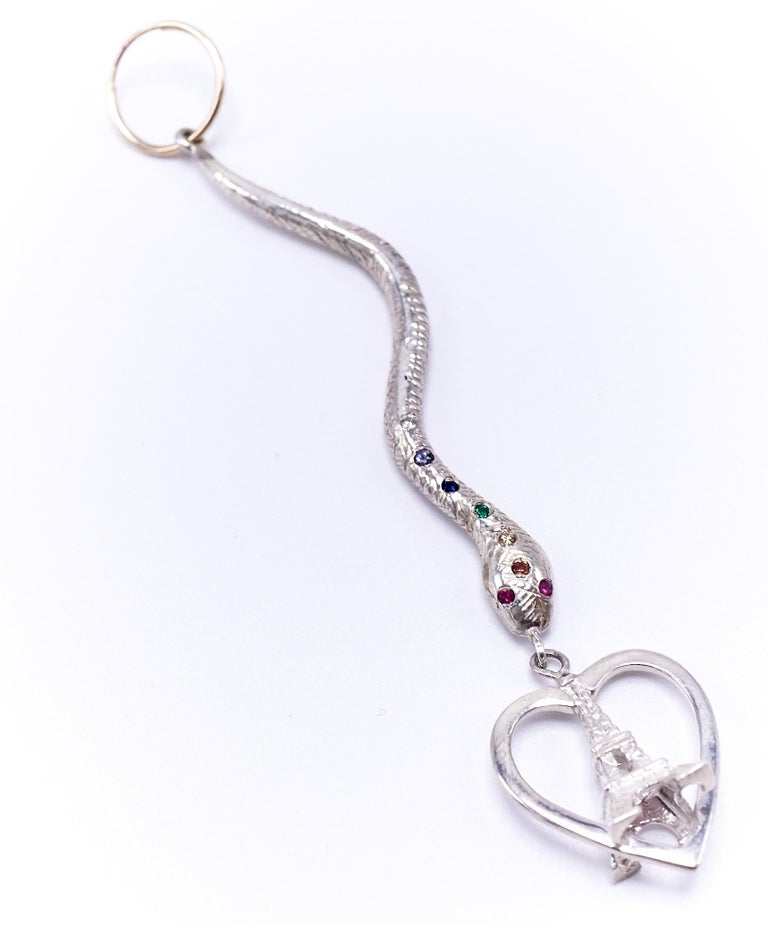 Round Cut White Diamond Emerald Ruby Earring Gold Silver Chakra Heart Snake Eiffel Tower  For Sale