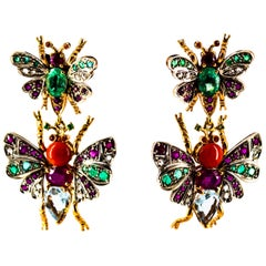 White Diamond Emerald Ruby Red Coral Aquamarine Yellow Gold Drop Stud Earrings
