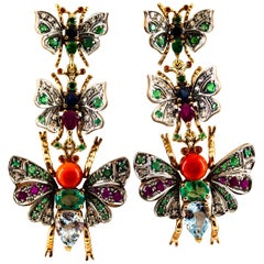 White Diamond Emerald Ruby Red Coral Sapphire Aquamarine Yellow Gold Earrings