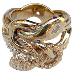 White Diamond Emerald Ruby Snake Ring Cocktail Ring Bronze J Dauphin