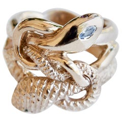 White Diamond Emerald Snake Ring Cocktail Ring Bronze J Dauphin