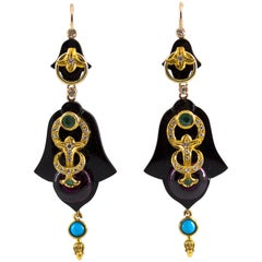 White Diamond Emerald Turquoise Amethyst Onyx Yellow Gold Lever-Back Earrings