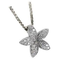 White Diamond Flower Necklace Set in 18 Karat White Gold Made in Italy