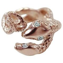 White Diamond Rose Gold Snake Ring Cocktail Ring J Dauphin