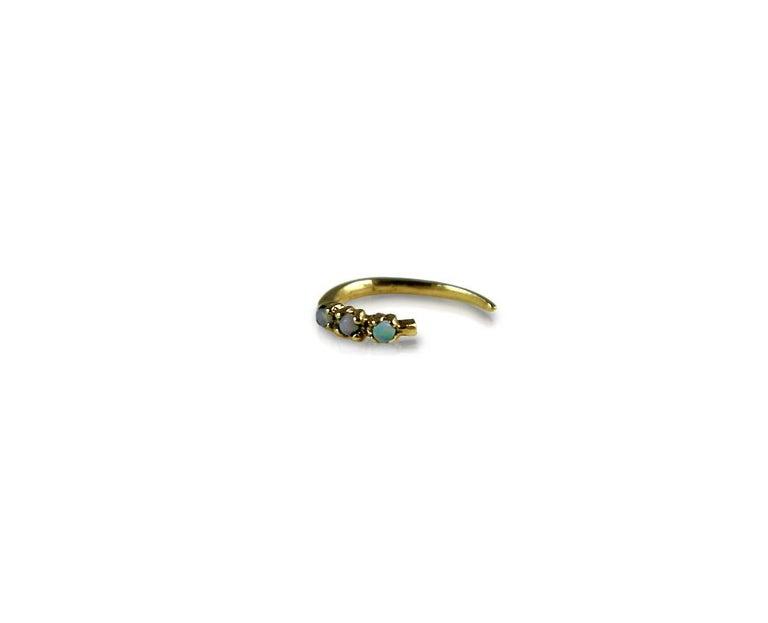 Round Cut White Diamond Gold Earring Piercing Hook J Dauphin For Sale