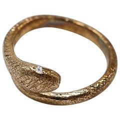 White Diamond Gold Snake Ring Victorian Style Onesie J Dauphin
