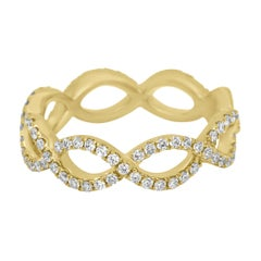 White Diamond Gold Twist Rope Stackable Fashion Cocktail Band Ring