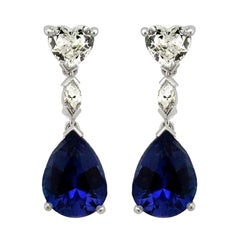 White Diamond Heart and Tanzanite Drop Earrings Made in Italy