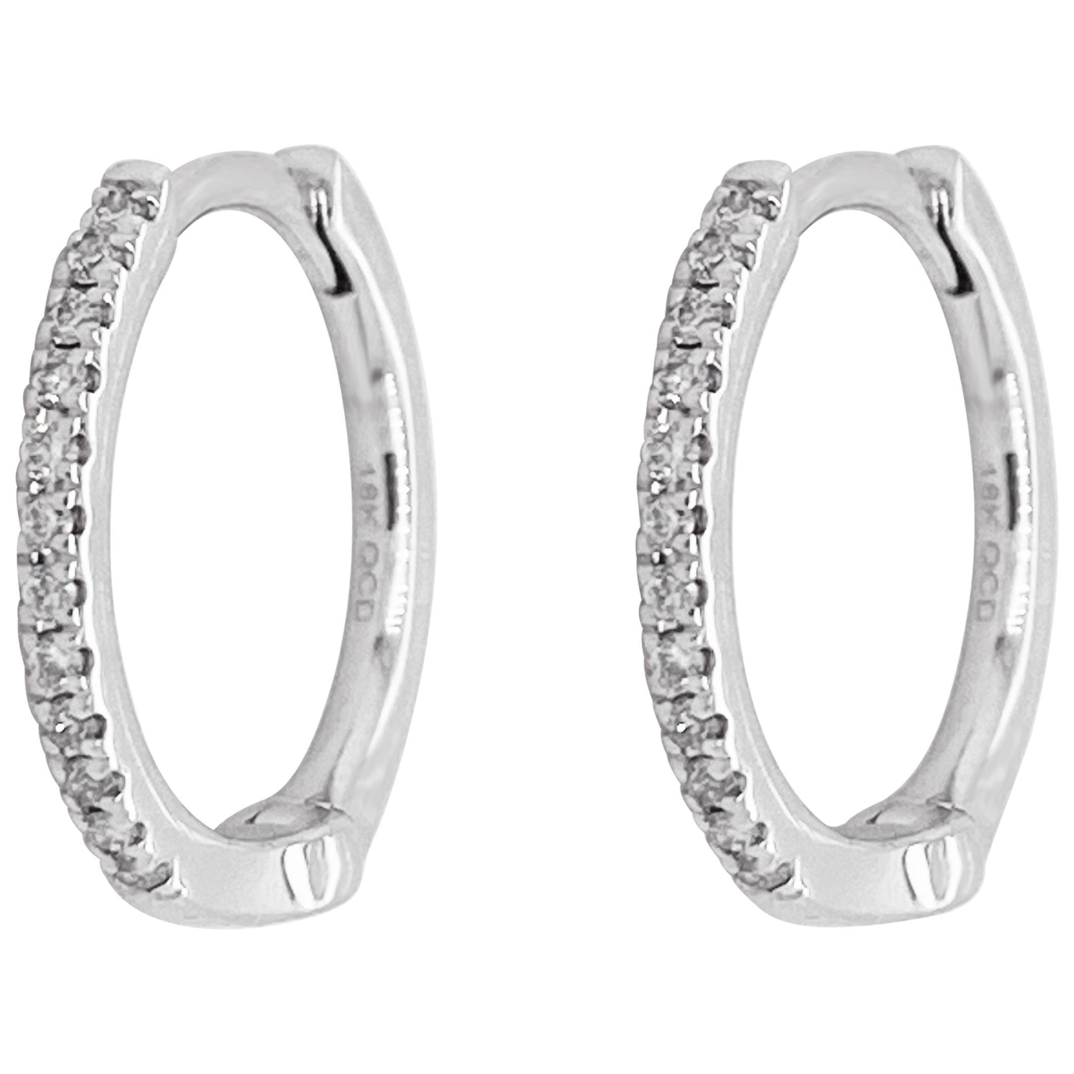 White Diamond Hoop Earrings, White Gold 18 Karat, 18 Karat, Small Hoops, Huggies