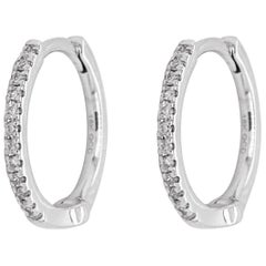 White Diamond Hoop Earrings, White Gold 18 Karat, 18 Karat, Small Hoops, Huggies