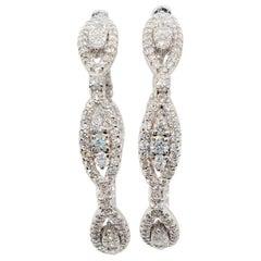 White Diamond Hoops in 18 Karat White Gold