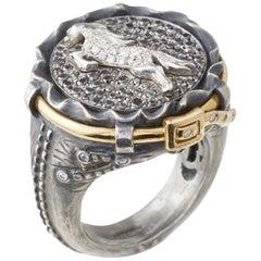 White Diamond Horse Jean Ring
