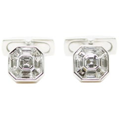 White Diamond Invisible Setting 18 Karat White Gold Cufflinks