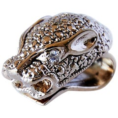 White Diamond Jaguar Earring Clip-On Statement Animal Earrings Bronze J Dauphin