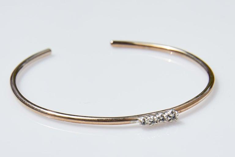 White Diamond Love Bracelet Arm Bangle Victorian Style Bronze J Dauphin  J DAUPHIN