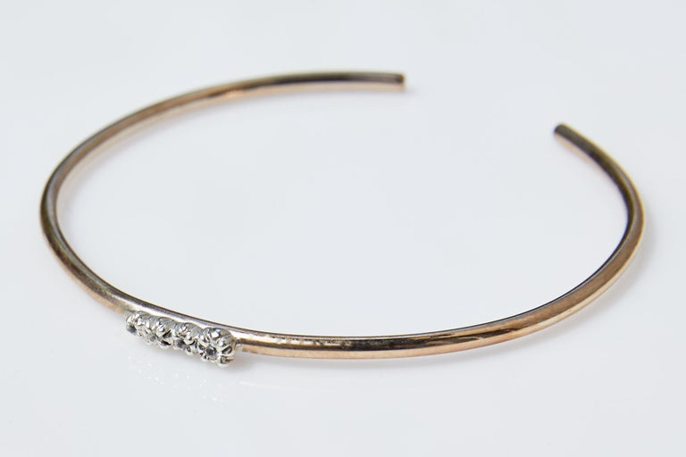 White Diamond Love Bracelet Arm Bangle Victorian Style Bronze J Dauphin In New Condition For Sale In Los Angeles, CA