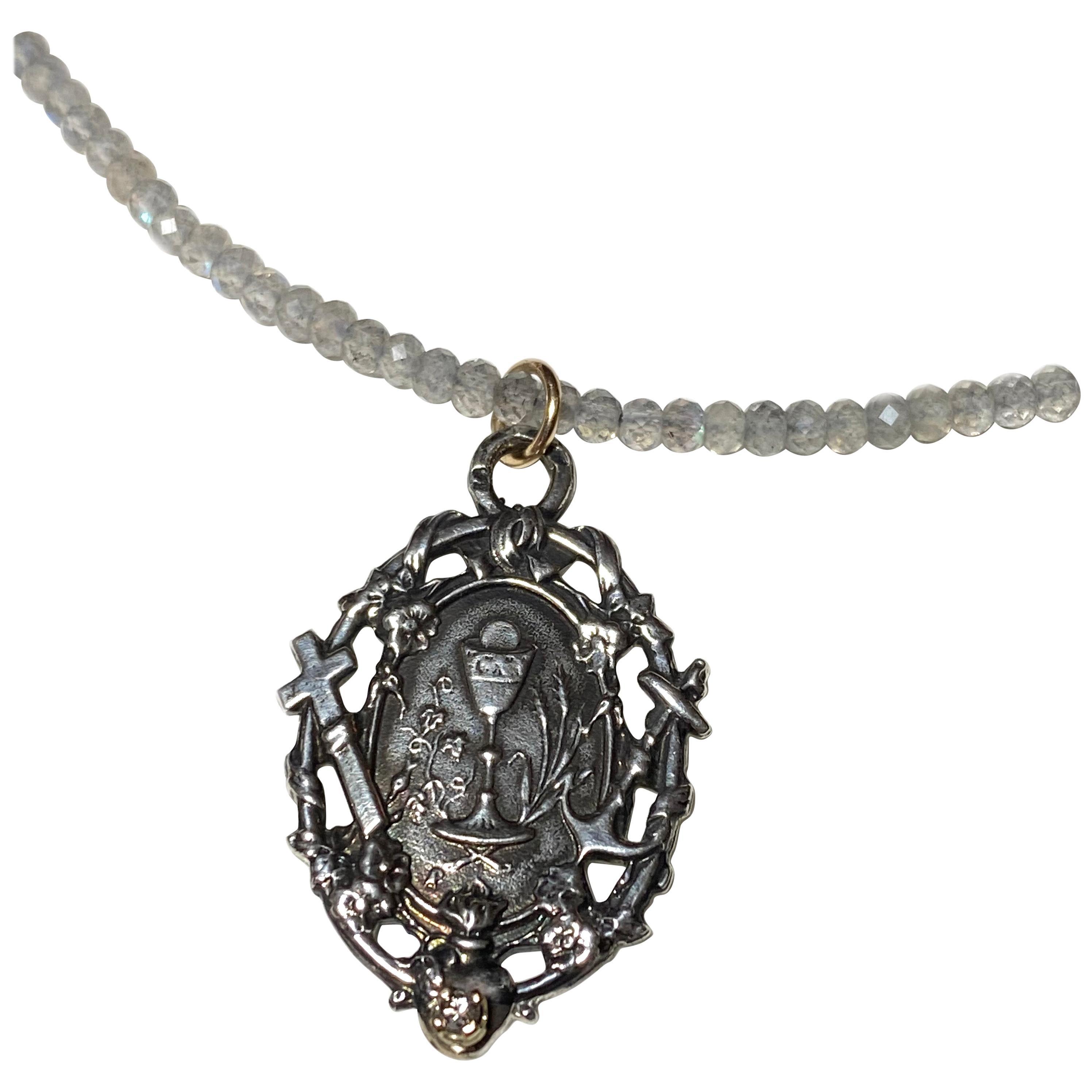 White Diamond Medal Faith Hope Love Sterling Silver Labradorite Bead Necklace