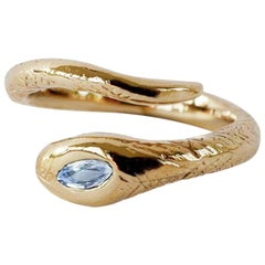 White Diamond Gold Snake Ring Victorian Style Cocktail Ring J Dauphin
