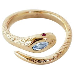 White Diamond Ruby Cocktail Ring Snake Ring Victorian Style Bronze J Dauphin