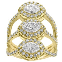 White Diamond Marquise Round Halo Yellow Gold Three-Stone Cocktail Fashion Ring