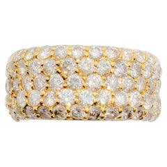 White Diamond Multi-Row Diamond Band in 18 Karat Yellow Gold