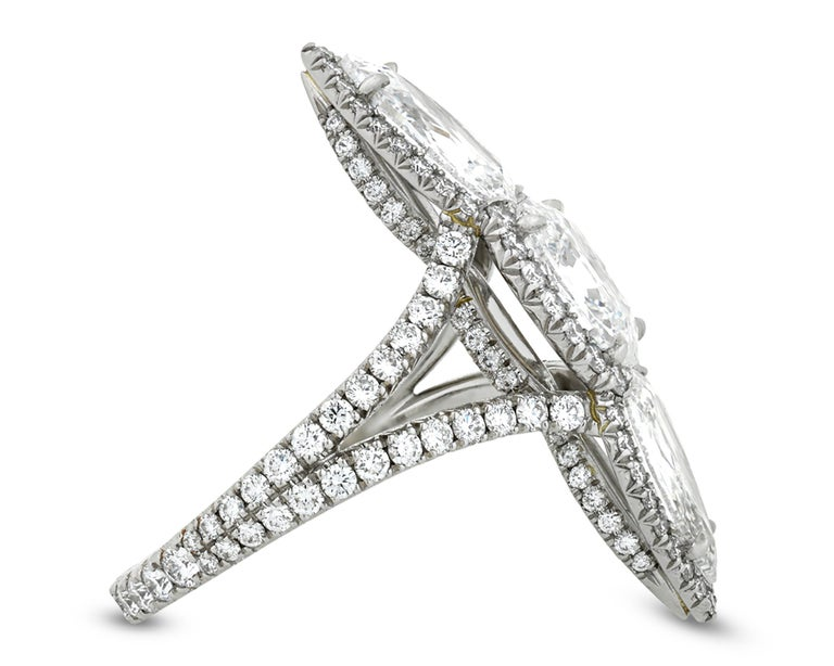 Modern White Diamond North-South Ring, 3.04 Carat For Sale