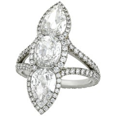 White Diamond North-South Ring, 3.04 Carat