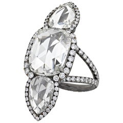 White Diamond North-South Ring, 7.98 Carat