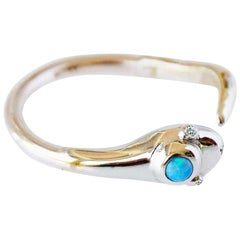 White Diamond Opal Gold Snake Ring Victorian Style Cocktail Ring J Dauphin