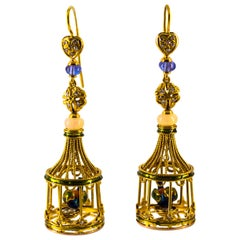 White Diamond Opal Tanzanite Pearl Coral Yellow Gold Birdcage Stud Drop Earrings