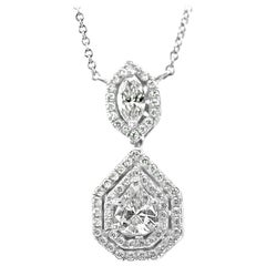 White Diamond Pear Double Halo 14 Karat Gold Drop Pedant Chain Necklace