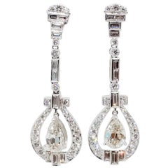 White Diamond Pear, Round, and Baguette Dangle Earrings in Platinum