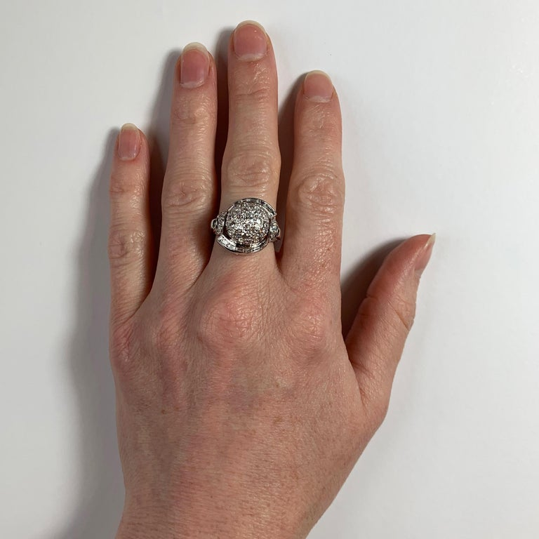 White Diamond Platinum Dome Cocktail Ring For Sale 5