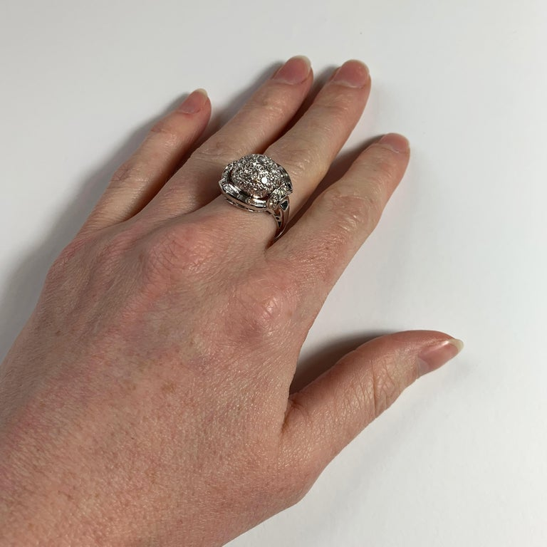 White Diamond Platinum Dome Cocktail Ring For Sale 6