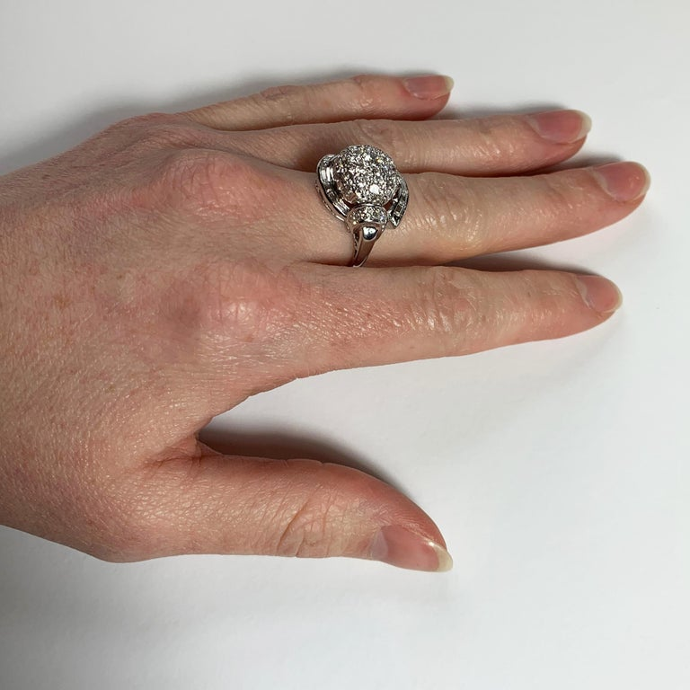 White Diamond Platinum Dome Cocktail Ring For Sale 7