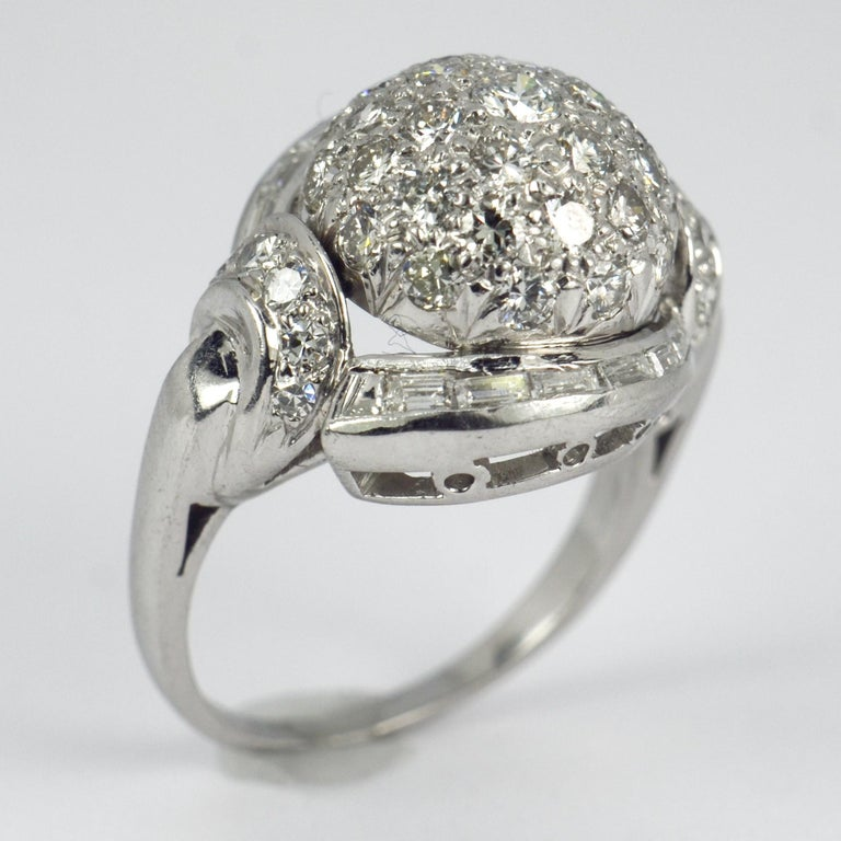 Round Cut White Diamond Platinum Dome Cocktail Ring For Sale