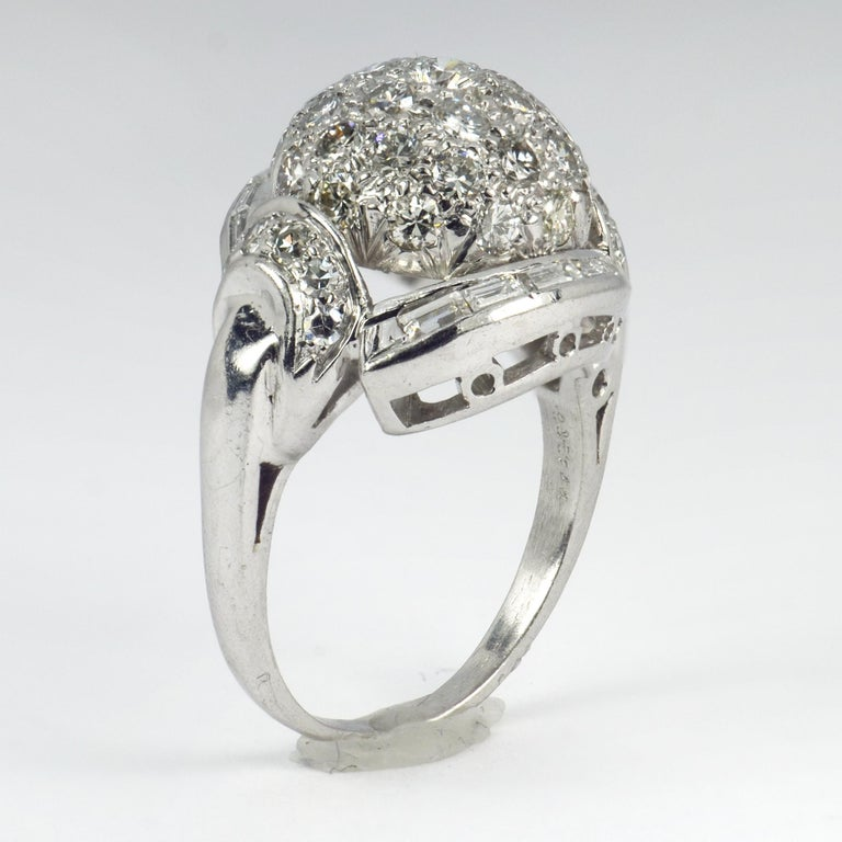 White Diamond Platinum Dome Cocktail Ring In Good Condition For Sale In London, GB