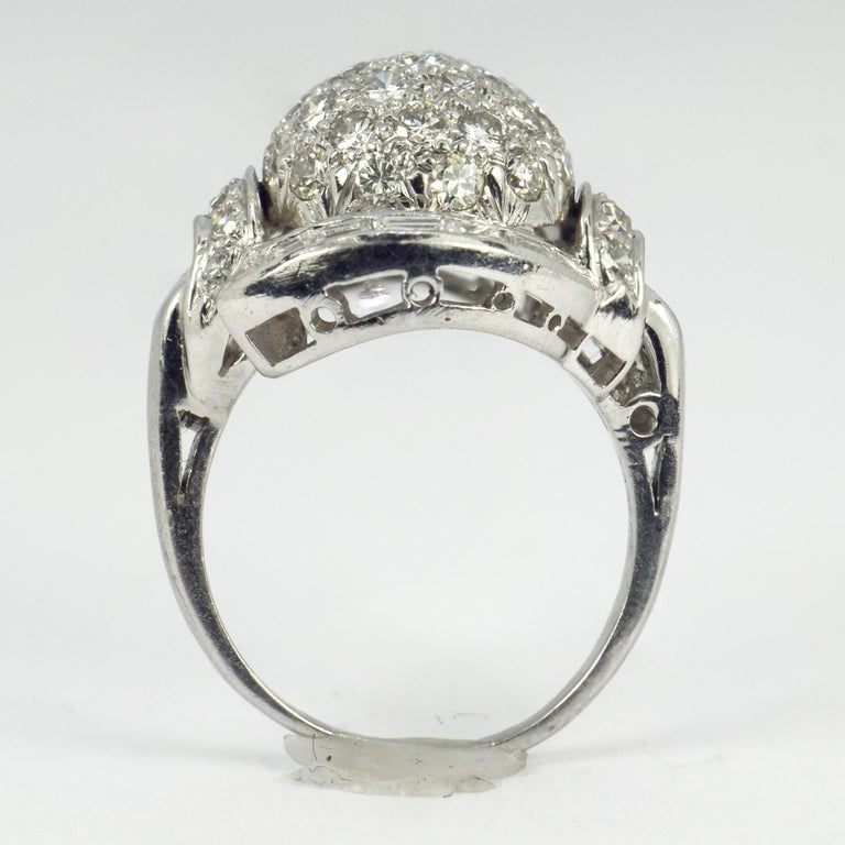 White Diamond Platinum Dome Cocktail Ring For Sale 1