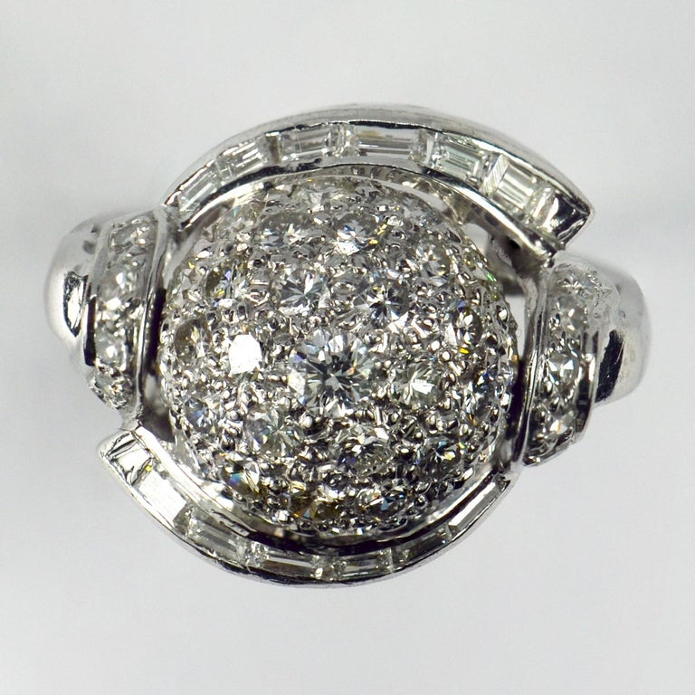 White Diamond Platinum Dome Cocktail Ring For Sale 2