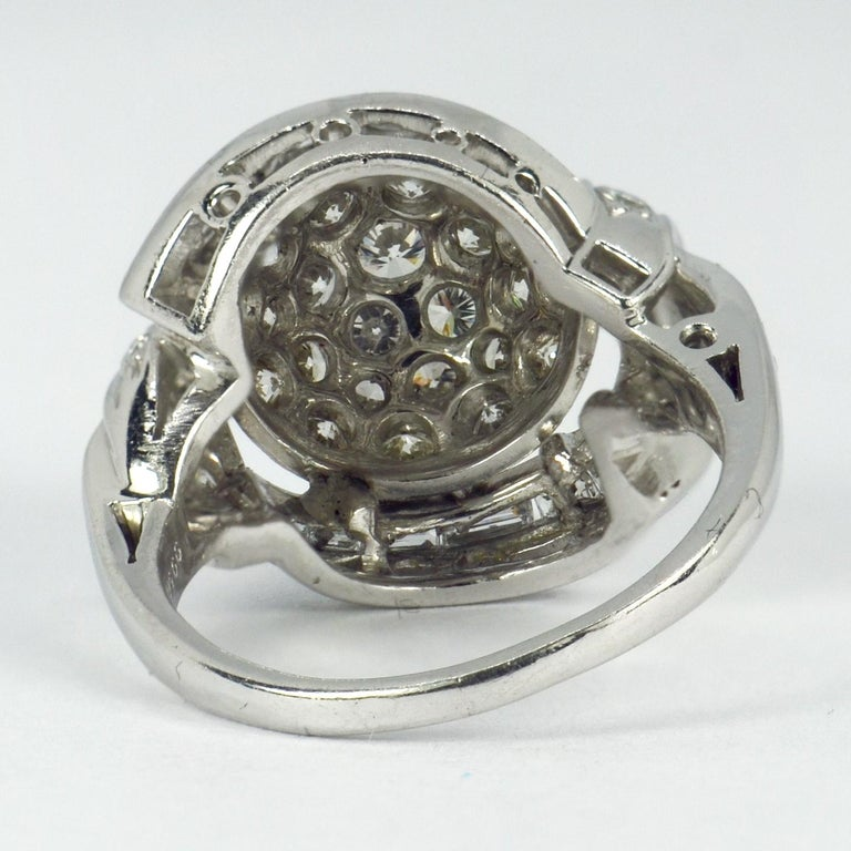 White Diamond Platinum Dome Cocktail Ring For Sale 3