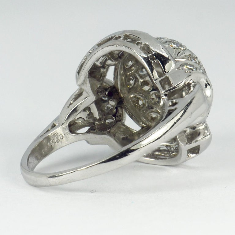White Diamond Platinum Dome Cocktail Ring For Sale 4