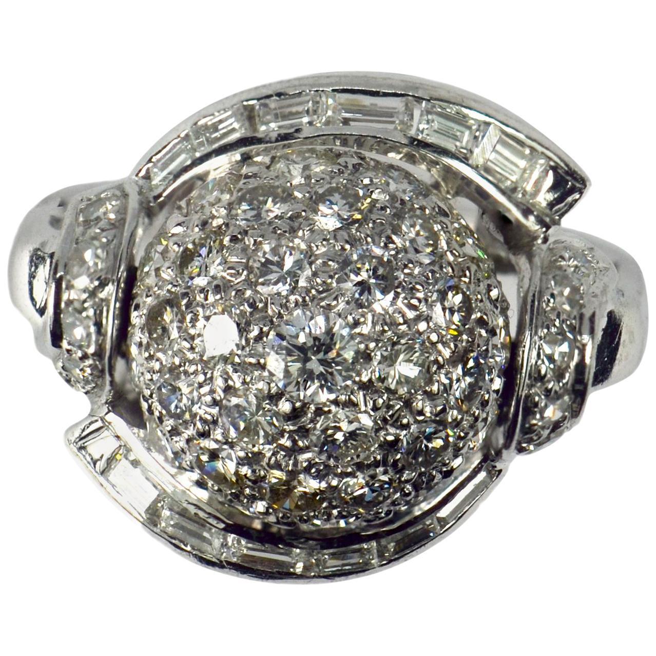White Diamond Platinum Dome Cocktail Ring