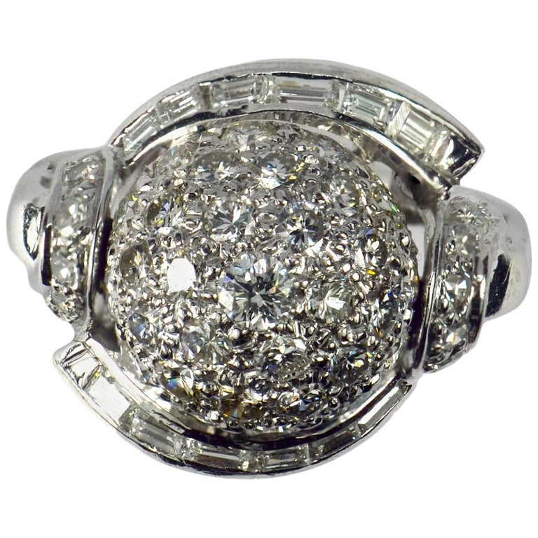 White Diamond Platinum Dome Cocktail Ring For Sale