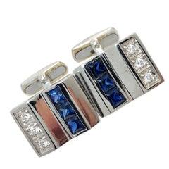 White Diamond Princess Blue Sapphire White Gold Setting Cufflinks