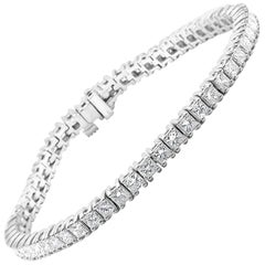 White Diamond Princess Cut 6.90 Carat Total Weight White Gold Tennis Bracelet
