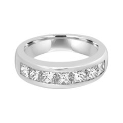 White Diamond Princess Cut Platinum Channel Set Fashion Wedding Band Ring