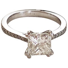 White Diamond Princess Cut Solitaire Engagement Ring in 14 Karat White Gold