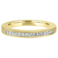 White Diamond Princess Cut Yellow Gold Channel Set Fashion Wedding Band Ring